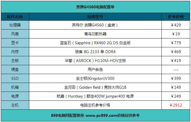 2017年六套玩CF电脑配置单推荐