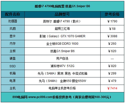 7414元电脑配置单: 酷睿i7-4790/技嘉B85-HD3-A/影驰GTX1070